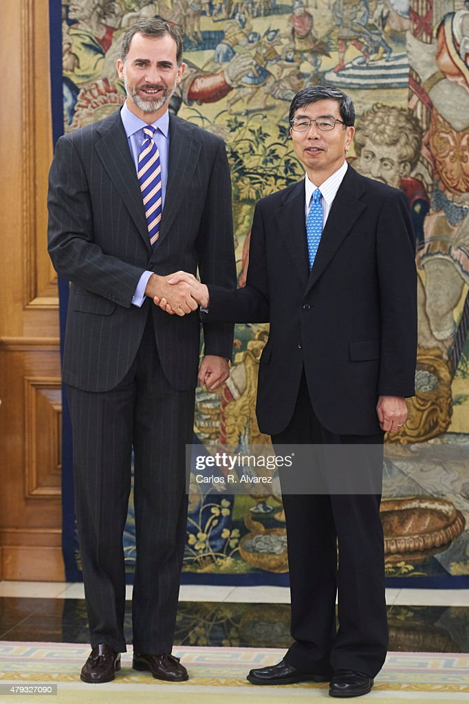 King <a gi-track='captionPersonalityLinkClicked' href=/galleries/search?phrase=Felipe+VI+of+Spain&family=editorial&specificpeople=4881076 ng-click='$event.stopPropagation()'>Felipe VI of Spain</a> (L) receives Asian Development Bank (ADB) President <a gi-track='captionPersonalityLinkClicked' href=/galleries/search?phrase=Takehiko+Nakao&family=editorial&specificpeople=10510436 ng-click='$event.stopPropagation()'>Takehiko Nakao</a> (R) at the Zarzuela Palace on July 3, 2015 in Madrid, Spain.
