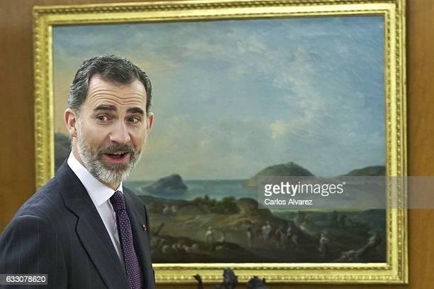 King Felipe VI of Spain receives Ecuador President Rafael Correa at Zarzuela Palace on January 30 2017 in Madrid Spain