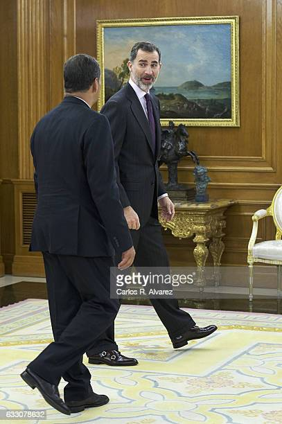 King Felipe VI of Spain receives Ecuador President Rafael Correa at Zarzuela Palace on January 30 2017 in Madrid Spain