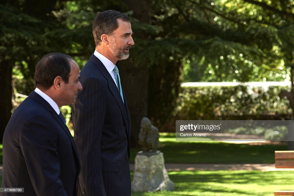King <a gi-track='captionPersonalityLinkClicked' href=/galleries/search?phrase=Felipe+VI+of+Spain&family=editorial&specificpeople=4881076 ng-click='$event.stopPropagation()'>Felipe VI of Spain</a> (R) receives Egyptian President Abdel Fattah al-Sisi (L) at the Zarzuela Palace on April 30, 2015 in Madrid, Spain.