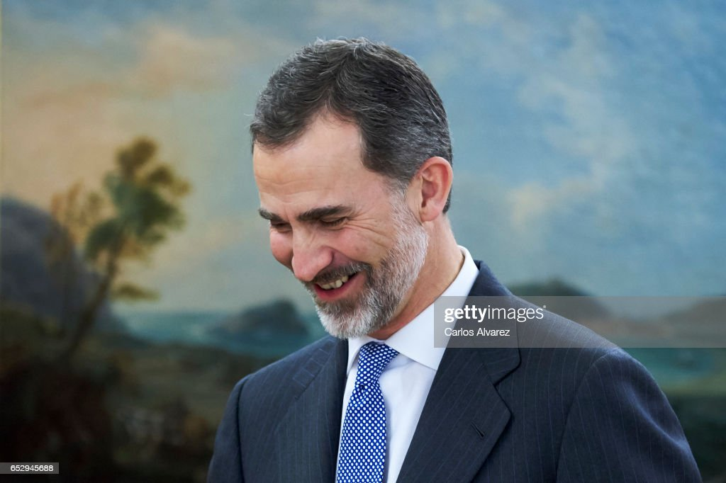 King Felipe VI of Spain receives Jose Angel Gurria, Secretary-General of the Organization for Economic Cooperation and Development (OECD) at the Zarzuela Palace on March 13, 2017 in Madrid, Spain.