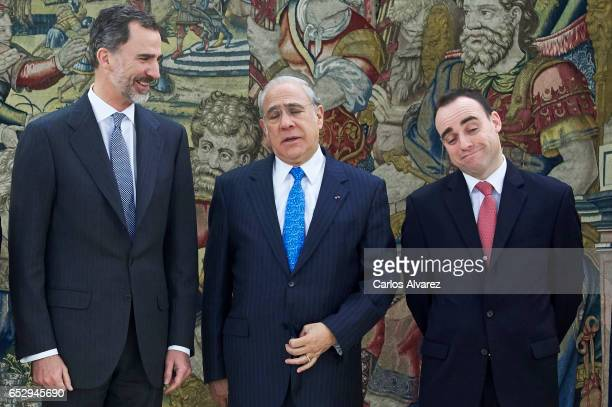 King Felipe VI of Spain receives Jose Angel Gurria SecretaryGeneral of the Organization for Economic Cooperation and Development and Angel Alonso...