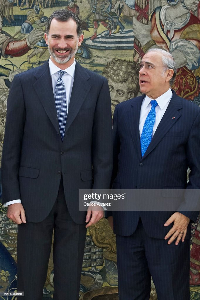 King Felipe VI of Spain (L) receives Jose Angel Gurria, Secretary-General of the Organization for Economic Cooperation and Development (OECD) (R) at the Zarzuela Palace on March 13, 2017 in Madrid, Spain.