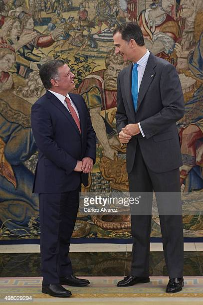 King Felipe VI of Spain receives King Abdullah II of Jordan at the Zarzuela Palace on November 20 2015 in Madrid Spain