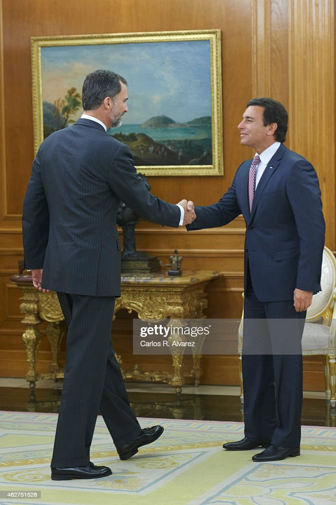 King Felipe VI of Spain (L) receives Mark Fields, President and CEO of Ford Motor Company (R) at Zarzuela Palace on February 4, 2015 in Madrid, Spain.