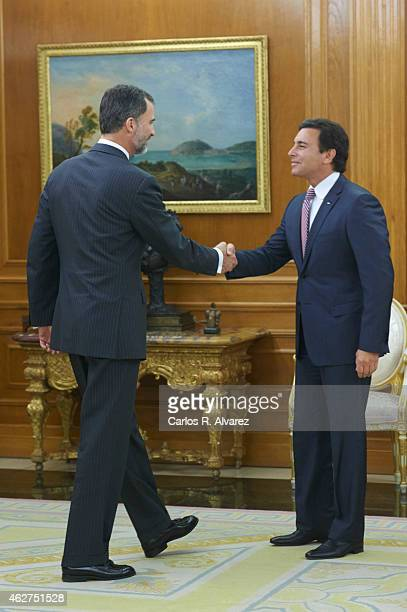 King Felipe VI of Spain receives Mark Fields President and CEO of Ford Motor Company at Zarzuela Palace on February 4 2015 in Madrid Spain