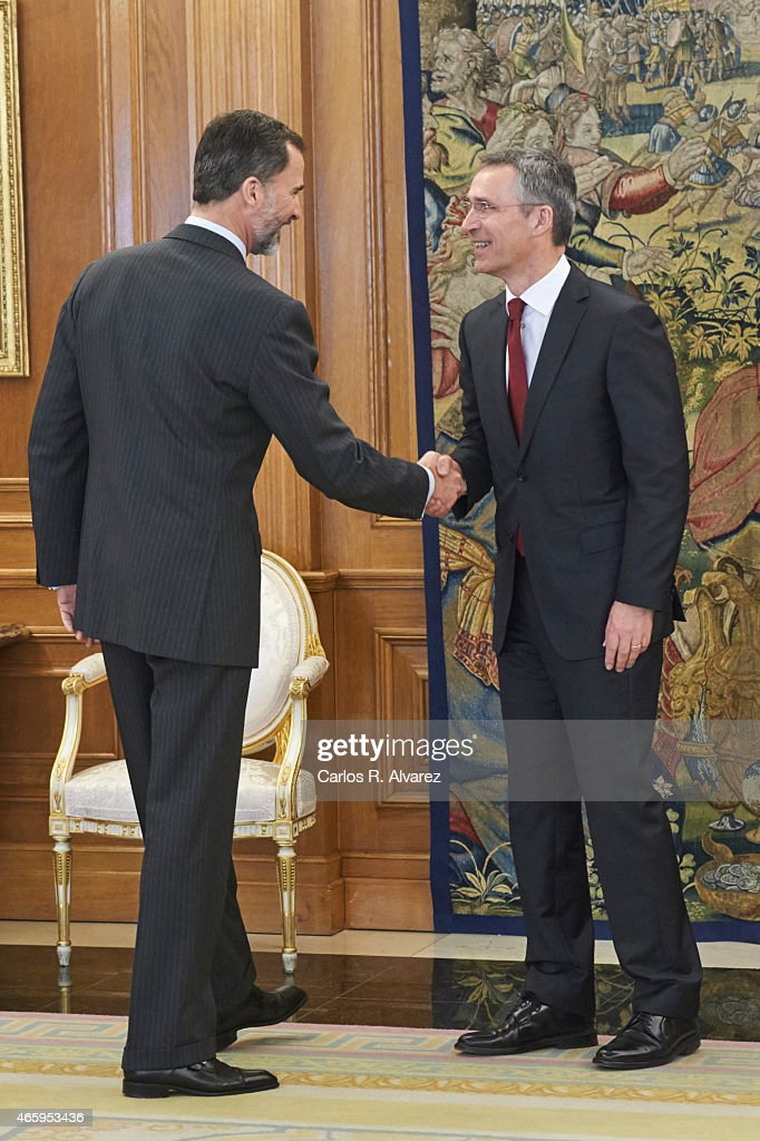 King Felipe VI of Spain (L) receives NATO Secretary General <a gi-track='captionPersonalityLinkClicked' href=/galleries/search?phrase=Jens+Stoltenberg&family=editorial&specificpeople=558620 ng-click='$event.stopPropagation()'>Jens Stoltenberg</a> (R) at the Zarzuela Palace on March 12, 2015 in Madrid, Spain.