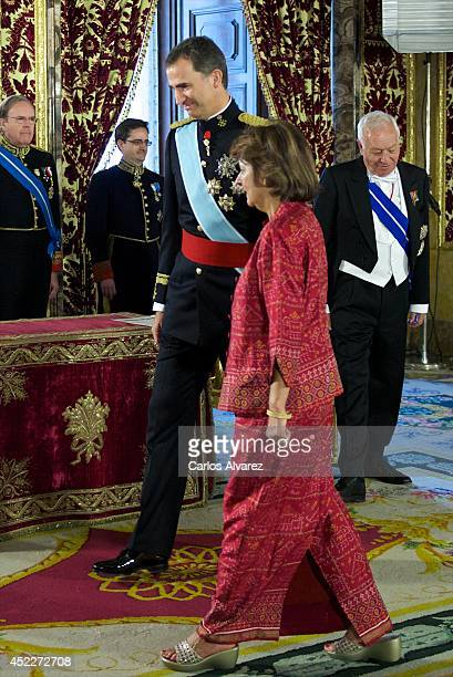 King Felipe VI of Spain receives new Ambassadors of Uganda Nimisha Jayant Madhvani at the Royal Palace on July 17 2014 in Madrid Spain