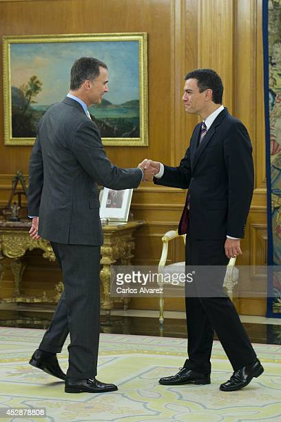 King Felipe VI of Spain receives new Secretary General of Spanish Socialist Party Pedro Sanchez at Zarzuela Palace on July 29 2014 In Madrid Spain