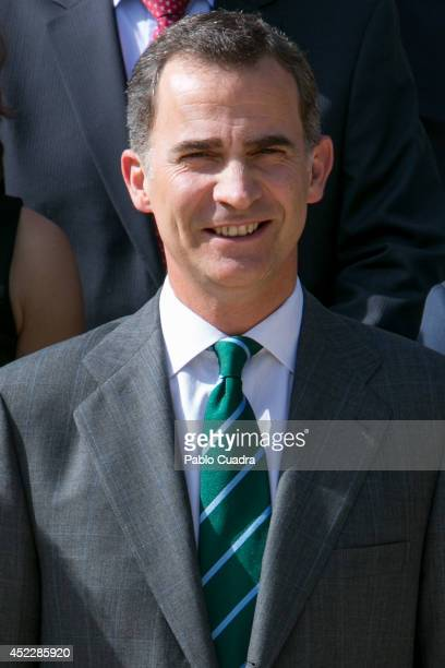 King Felipe VI of Spain receives permanent Ambassadors of United Nations in Audience at the Zarzuela Palace on July 17 2014 in Madrid Spain