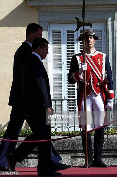 King Felipe VI of Spain receives Peruvian President Ollanta Humala Tasso at the El Pardo Palace on July 7 2015 in Madrid Spain
