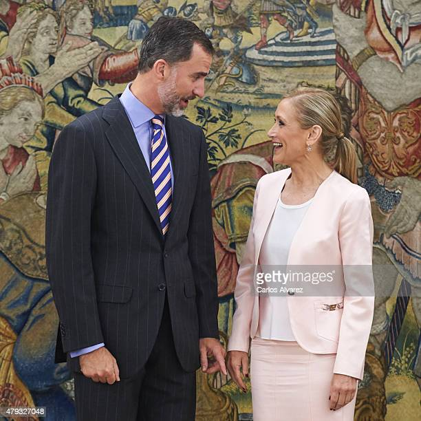 King Felipe VI of Spain receives President of Madrid Community Cristina Cifuentes at the Zarzuela Palace on July 3 2015 in Madrid Spain
