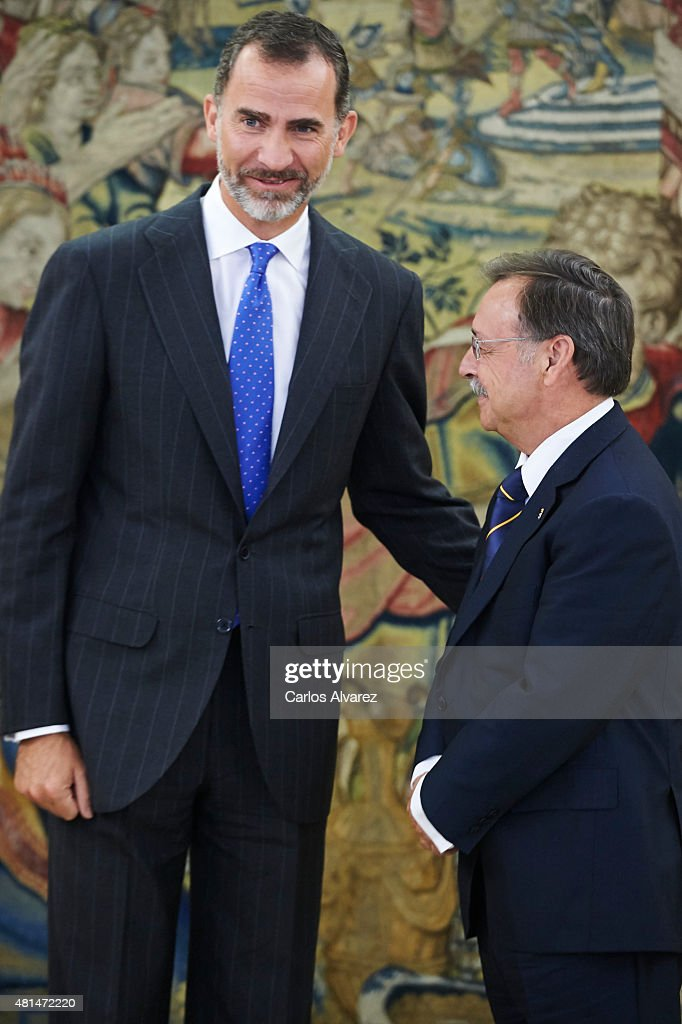 King Felipe VI of Spain (L) receives President of the autonomous city of Ceuta Juan Jesus Vivas Lara (R) at the Zarzuela Palace on July 21, 2015 in Madrid, Spain.