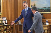 King Felipe VI of Spain receives President of the Catalunya Generalitat regional government Artur Mas at the Zarzuela Palace on July 17 2015 in...
