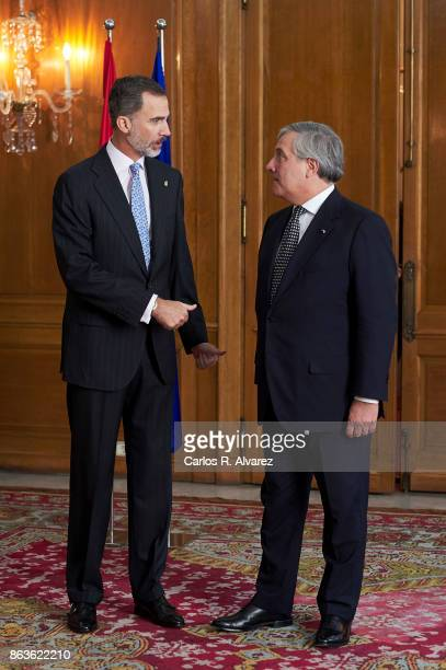 King Felipe VI of Spain receives President of the European Parliament Antonio Tajani at the Reconquista Hotel during the 'Princesa De Asturias'...