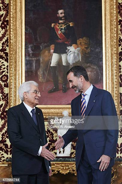 King Felipe VI of Spain receives President of the Italian Republic Sergio Mattarella at the Royal Palace on May 11 2015 in Madrid Spain