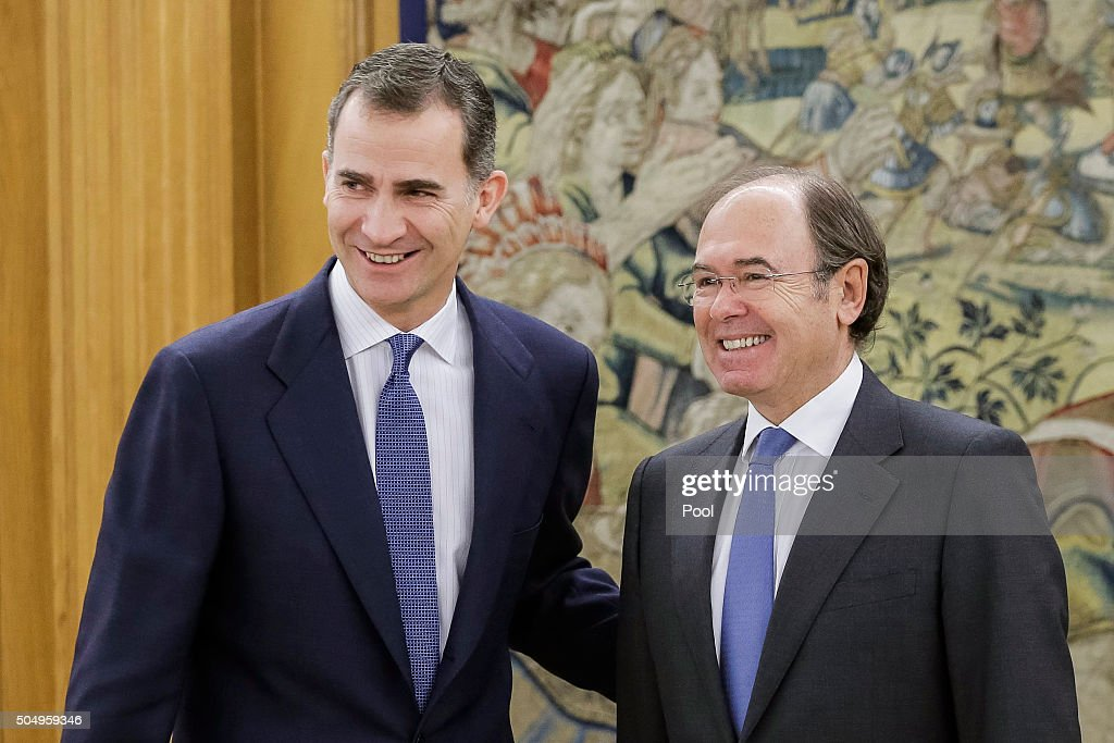 King Felipe VI of Spain receives President of the Senate, Pio Garcia Escudero, to inform about the constitution of the upper house in the XI Legislature at the Palacio de la Zarzuela on January 14, 2016 in Madrid, Spain.