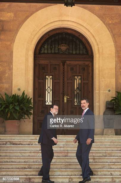 King Felipe VI of Spain receives Prime Minister Mariano Rajoy at the Marivent Palace on August 7 2017 in Palma de Mallorca Spain