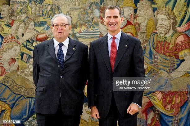 King Felipe VI of Spain receives Robert Matthew Festing at Zarzuela Palace on December 10 2015 in Madrid Spain
