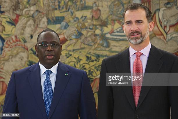 King Felipe VI of Spain receives Senegal's President Macky Sall at the Zarzuela Palace on December 15 2014 in Madrid Spain
