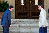 King Felipe VI of Spain receives Spanish President Mariano Rajoy at Marivent Palace on August 8 2014 in Palma de Mallorca Spain