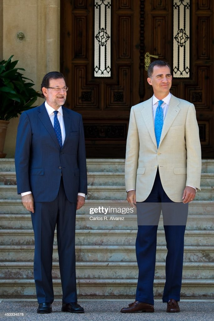 King Felipe VI of Spain receives Spanish President Mariano Rajoy at Marivent Palace on August 8 2014 in Palma de Mallorca Spain