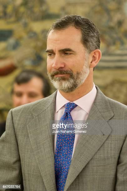 King Felipe VI of Spain receives the representatives of the 'Alianza Por La Competitividad de la Industria Espanola' at Zarzuela Palace on March 2...