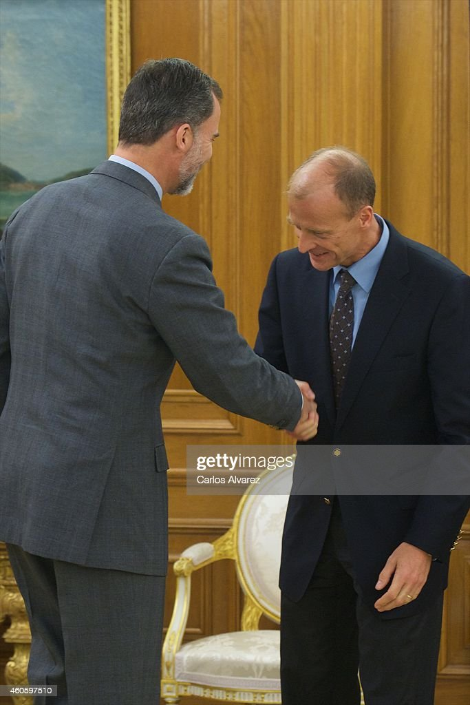 King Felipe VI of Spain (L) receives Thomas 'Tom' Enders, chief executive officer of Airbus Group NV, (R) at the Zarzuela Palace on December 17, 2014 in Madrid, Spain.
