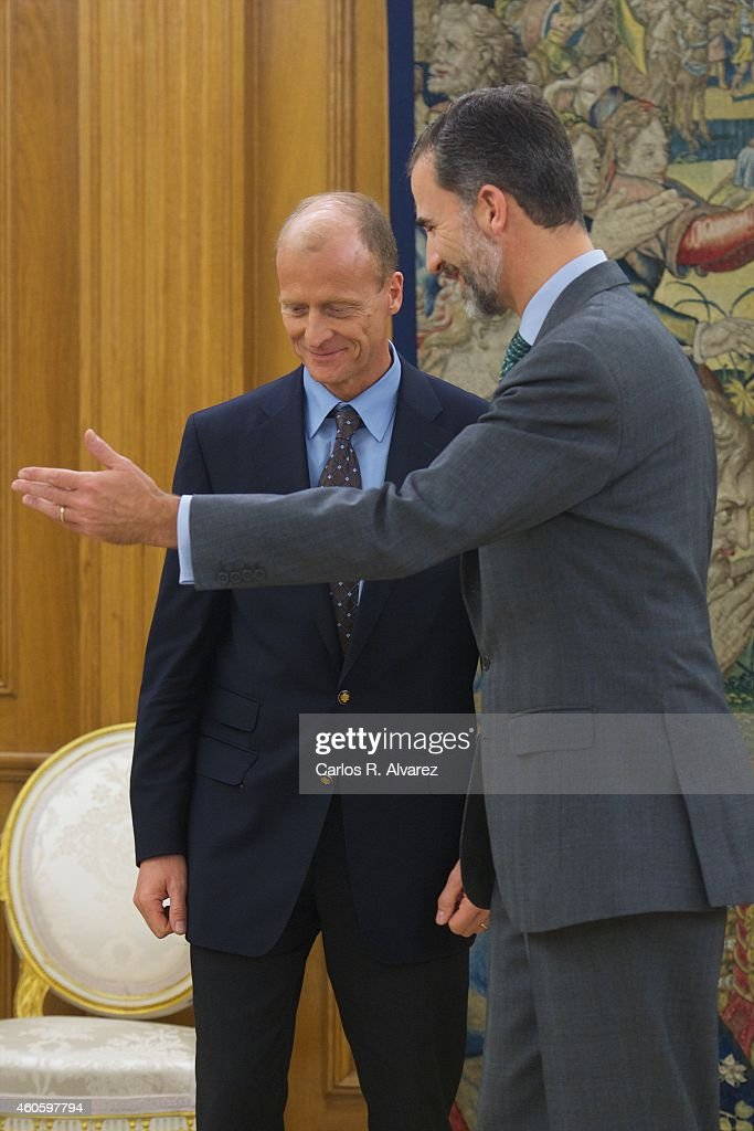 King Felipe VI of Spain (R) receives Thomas 'Tom' Enders, chief executive officer of Airbus Group NV (L) at the Zarzuela Palace on December 17, 2014 in Madrid, Spain.