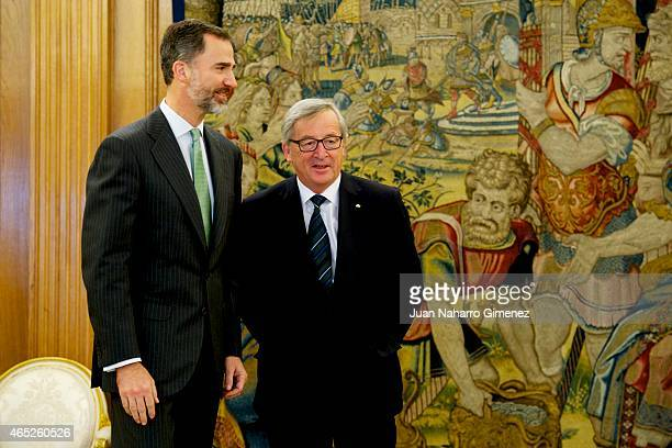 King Felipe VI of Spain receives to the President of the European Commission JeanClaude Juncker at Zarzuela Palace on March 5 2015 in Madrid Spain