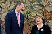 King Felipe Of Spain Meets Michelle Bachelet at...