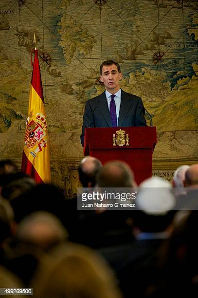 King Felipe VI of Spain speaks during a Ceremony on Granting Spanish Citizenship to Sphardic Jews at the Royal Palace on November 30 2015 in Madrid...