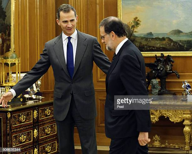 King Felipe VI of Spain today receives acting Prime Minister and leader of the PP Mariano Rajoy during the round of consultations to propose a...