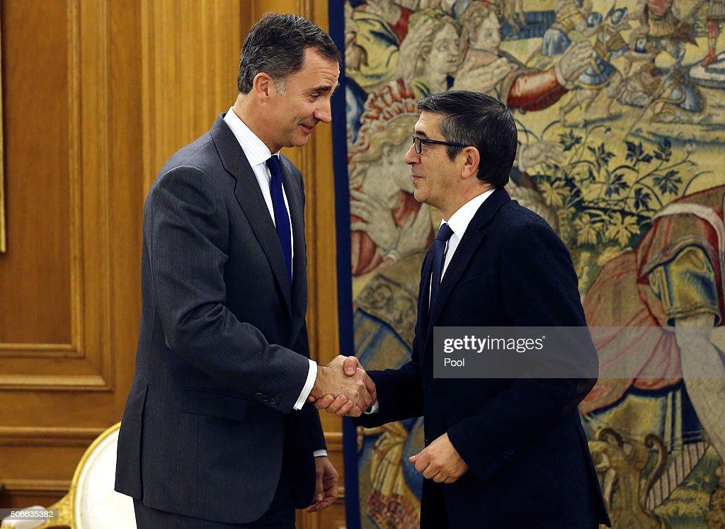 King Felipe of Spain Meets Albert Rivera And Pablo Iglesias
