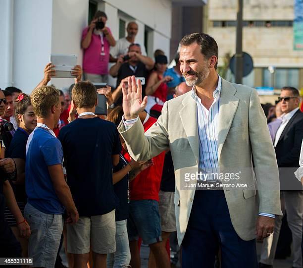King Felipe VI of Spain visit Organizers Of World Sailing Championship on September 12 2014 in Santander Spain