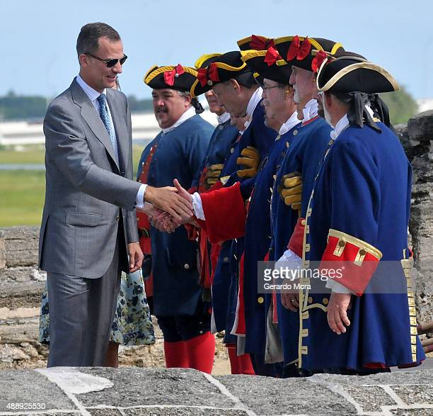 King Felipe VI of Spain visits Castillo San Marcos during the 450th Saint Agustine anniversary on September 18 2015 in St Augustine Florida