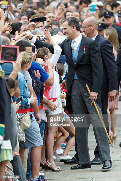 King Felipe VI of Spain visits the Cathedral of Santiago de Compostela on the first anniversary of the train accident on July 25 2014 in Santiago de...