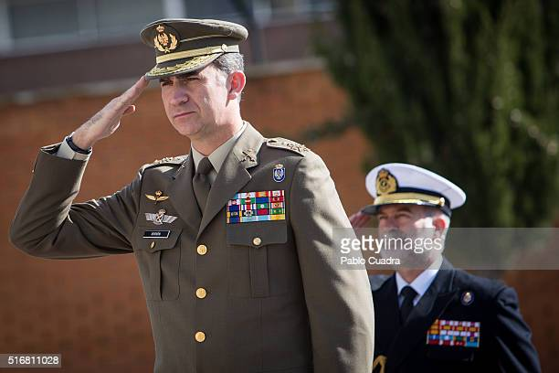 King Felipe VI of Spain visits the Special Intervention Unit of the Civil Guard at the 'Duque de Ahumada' Young Guards College on March 21 2016 in...