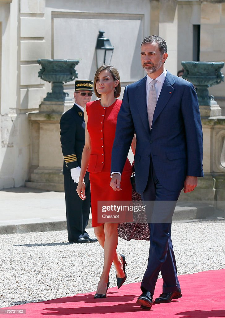 King Felipe VI of Spain with Queen Letizia of Spain arrives to deliver a speech at the French National Assembly on 03 June 2015 in Paris, France. Felipe VI of Spain and Queen Letizia of Spain are on a three-day visit in France. Originally scheduled for March 24, this visit had to be suspended after Germanwings flight 9525 crashed in the French Alps.