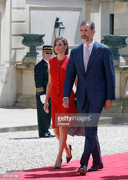 King Felipe VI of Spain with Queen Letizia of Spain arrives to deliver a speech at the French National Assembly on 03 June 2015 in Paris France...