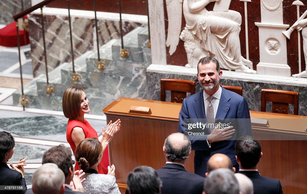 King Felipe VI with Queen Letizia of Spain salutes French deputy after his speech at the French National Assembly on 03 June 2015 in Paris, France. Felipe VI of Spain and Queen Letizia of Spain are on a three-day visit in France. Originally scheduled for March 24, this visit had to be suspended after Germanwings flight 9525 crashed in the French Alps.