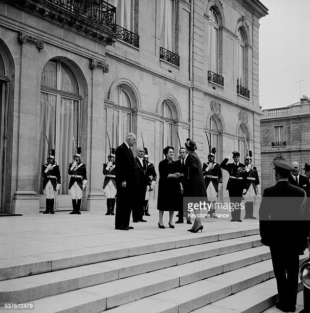 King Frederick IX of Denmark and his wife Princess Ingrid during an official visit in France are received by President of the Republic Charles de...