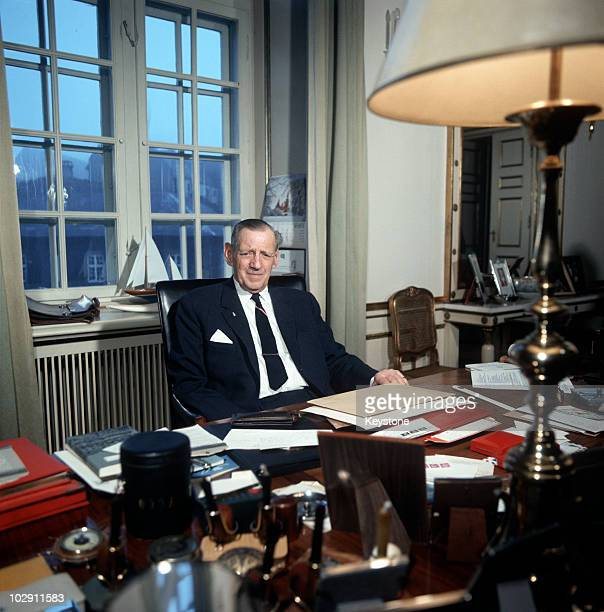 King Frederick IX of Denmark in his office at Amalianborg Palace in Copenhagen Denmark 1969
