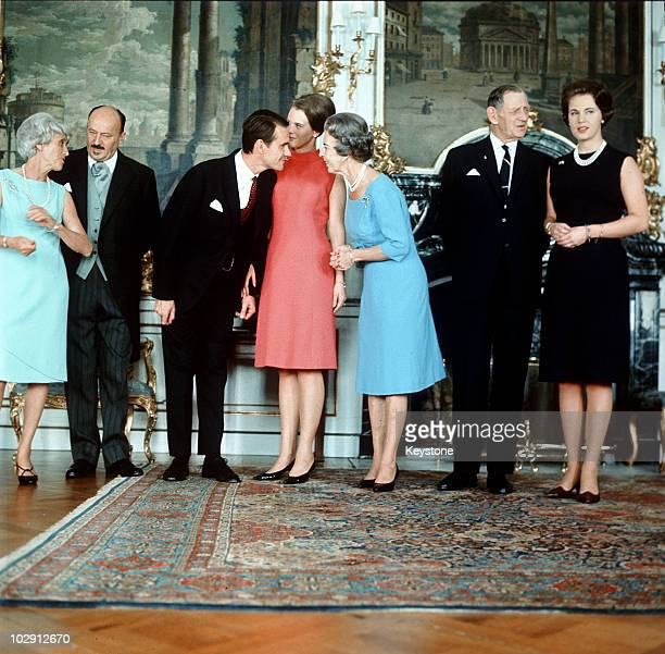 King Frederick IX of Denmark with his wife Queen Ingrid of Denmark their daughters Princess Benedikte and Princess Margrethe with Count Henri de...