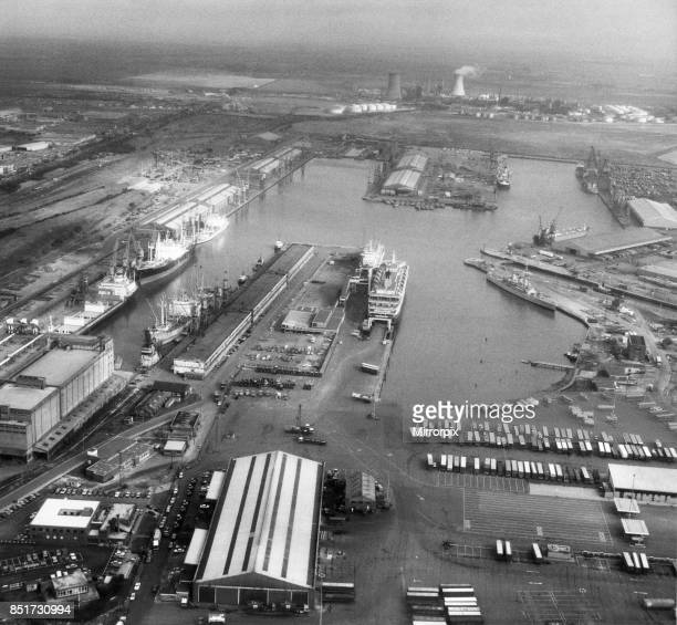 King George and Queen Elizabeth Docks hull seen from the cockpit of a RAF Jaguar reconnaissance aircraft travelling at 400 mph above the port This...