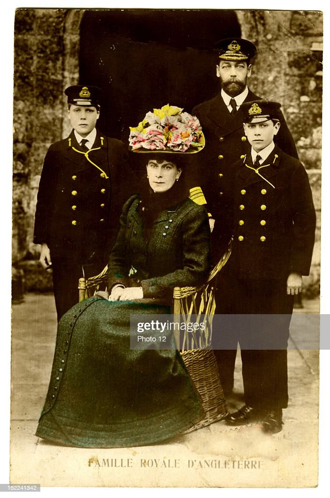King George V of England his wife the Queen Mary with their sons David and George