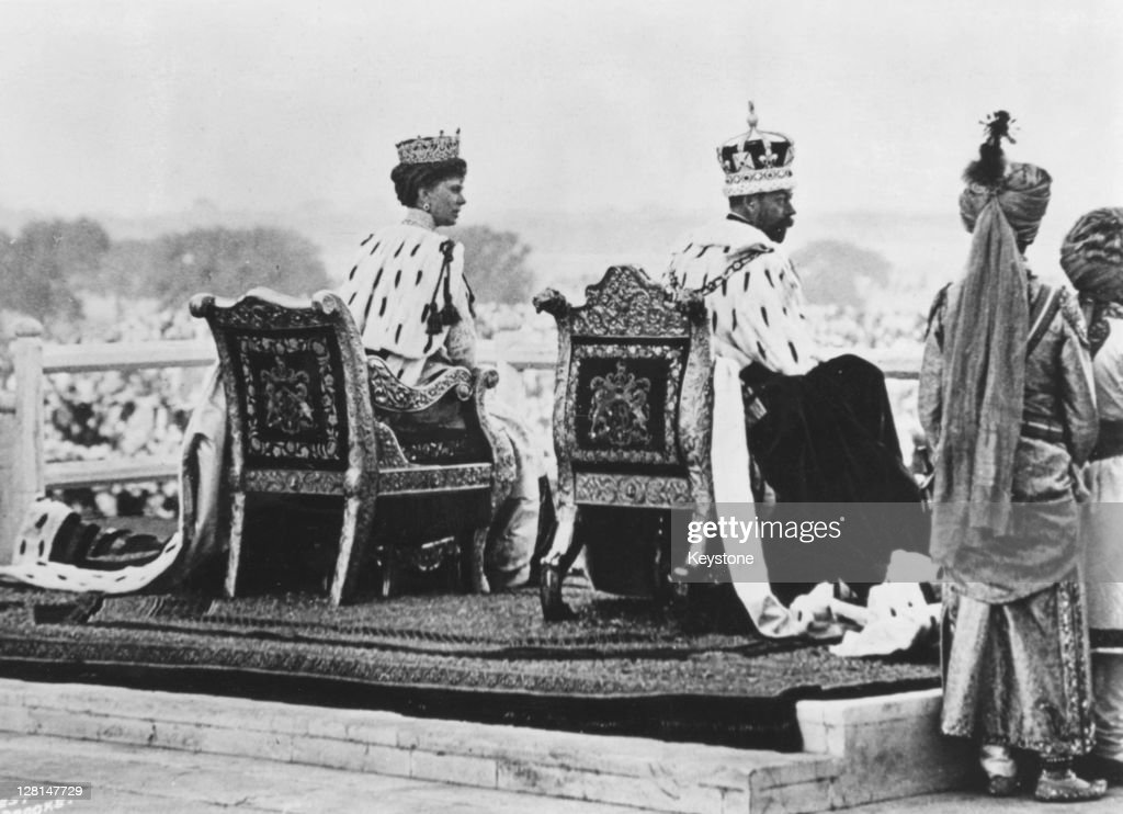 King <a gi-track='captionPersonalityLinkClicked' href=/galleries/search?phrase=George+V&family=editorial&specificpeople=93661 ng-click='$event.stopPropagation()'>George V</a> of Great Britain (1865 - 1936) and Queen Mary (1867 - 1953) at the Coronation Durbar in Delhi, 12th December 1911.