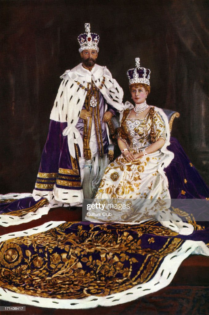King <a gi-track='captionPersonalityLinkClicked' href=/galleries/search?phrase=George+V&family=editorial&specificpeople=93661 ng-click='$event.stopPropagation()'>George V</a> & Queen Mary - in Coronation regalia, 1910 - frontispiece for the Illustrated London News Silver Jubilee. Photo by W & D Downey. Hand-tinted. 1910-1935. The King in Robe of Purple Velvet and Imperial Crown, the Queen in Coronation dress and crown as they showed themselves to the people from the balcony. Plate I.