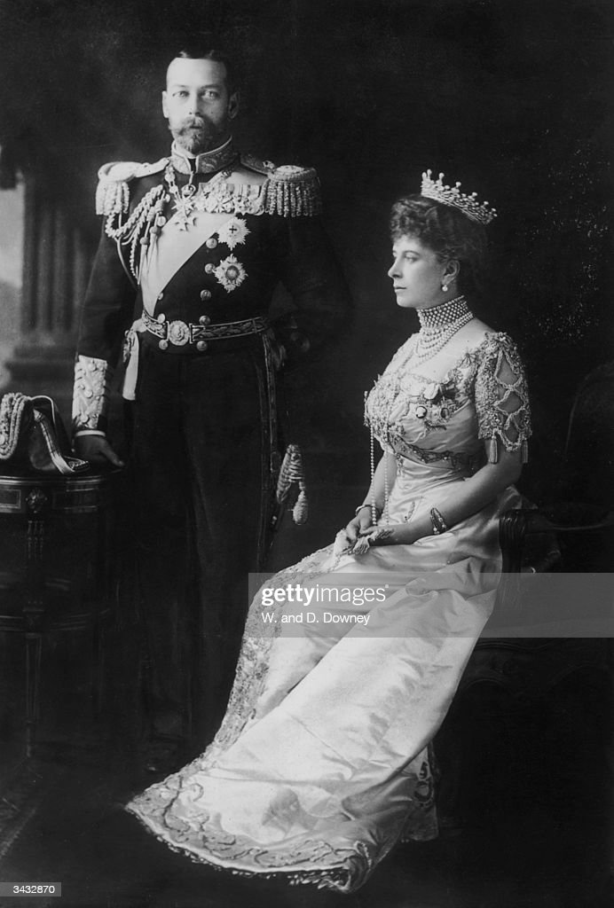 King George V (1865 - 1936) with Queen Mary (1867 - 1953) in the year he succeeded to the throne after the death of his father, Edward VII, in 1910.