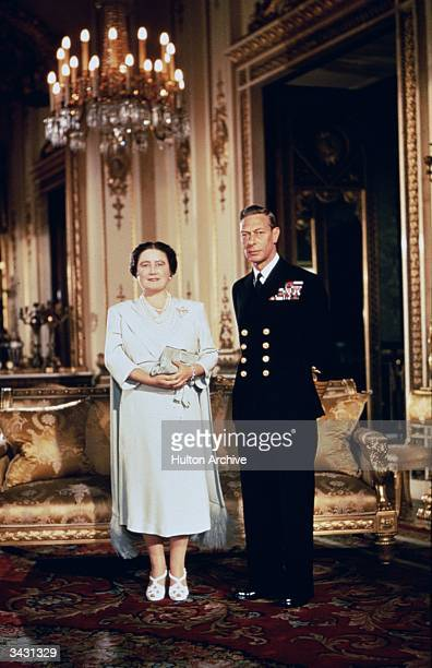 King George VI and Queen Elizabeth at Buckingham Palace London